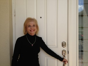 Linda at front door